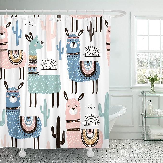 Llama Shower Curtain Sugar Skull Style Alpaca Print for Bathroom
