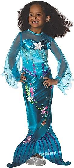 - Indicato per Bambini dai 4 ai 6 Anni Taglia S Blu 116 Tante Tina Vestito da Sirena per Bambina Costume da Sirena con Gonna rasoterra e Spacco Posteriore per Un Maggiore Movimento