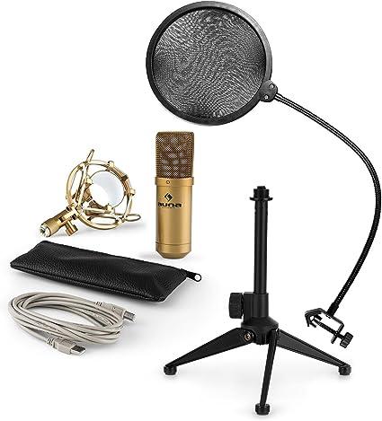 auna MIC-900G LED Set de micrófonos - V2, micrófono condensador ...