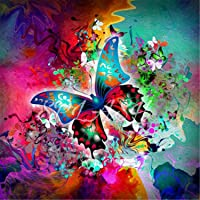5D DIY Diamond Painting, Embroidery Painting Wall Sticker for Wall Decor Full Drill - Colorful Butterfly 12 x 12inch