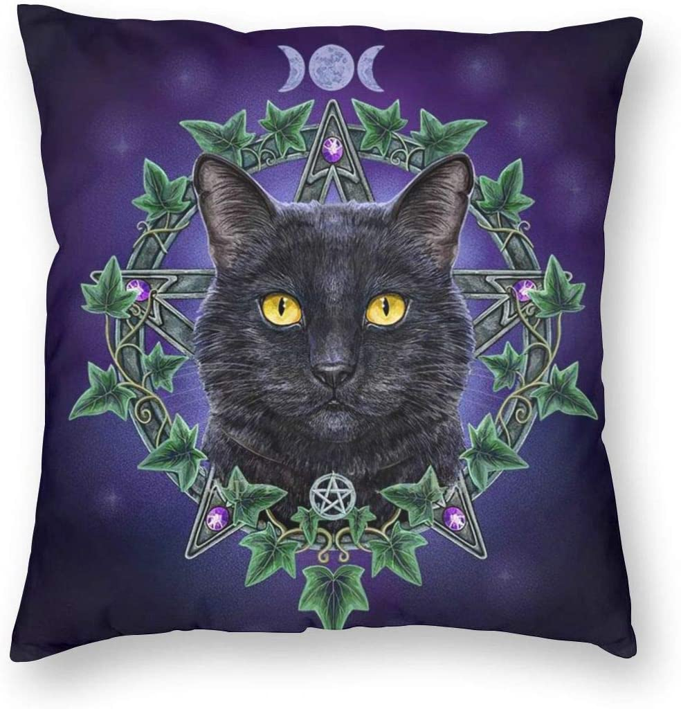 MINIOZE Wicca Black cat Halloween Wiccan Print Plush Soft Square Pillow Covers Home Decor Cushion Covers Decorations Gifts Pillowcase for Indoor Sofa Bedroom Car 18 x 18 Inch