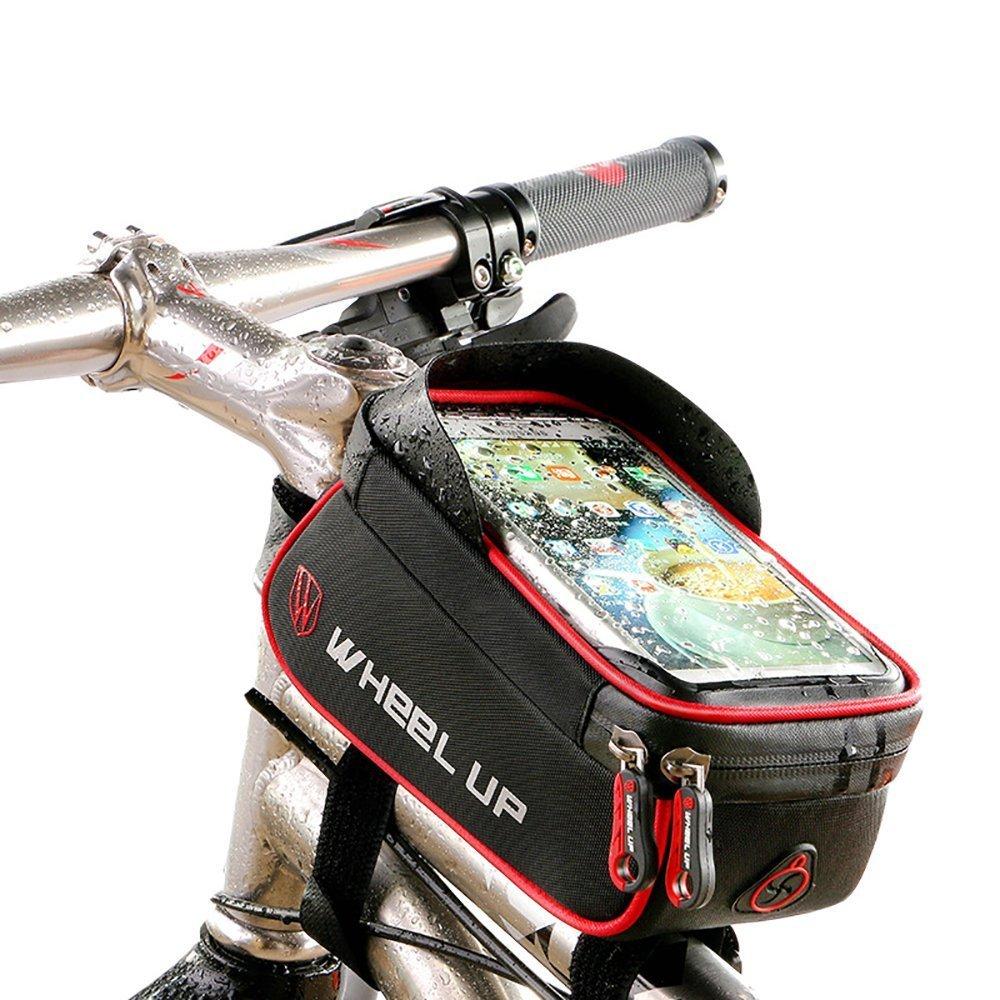 Marsupio per bicicletta, testa tubo, Xphonew in bicicletta anteriore superiore del tubo telaio Pannier doppio sacchetto borsa porta traversa per iPhone 7/7 Plus/6/6S Plus Samsung Galaxy S8 S7 Edge S6 Edge Plus S6 S5 Note 2 3 4 5 HTC LG Sony Huawei Google N