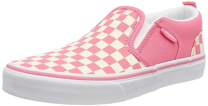Vans Kinder Asher Unisex Sneaker Rosa Strawberry Pink Weiß Kariert