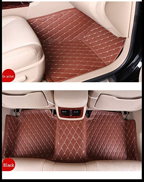 AOYMEI Car Floor Mats for 2017-2019 Honda CR-V Custom Fit Double Layer Leather Fully Surrounded All Weather Protection Detachable Wire Loop Beige line + Black