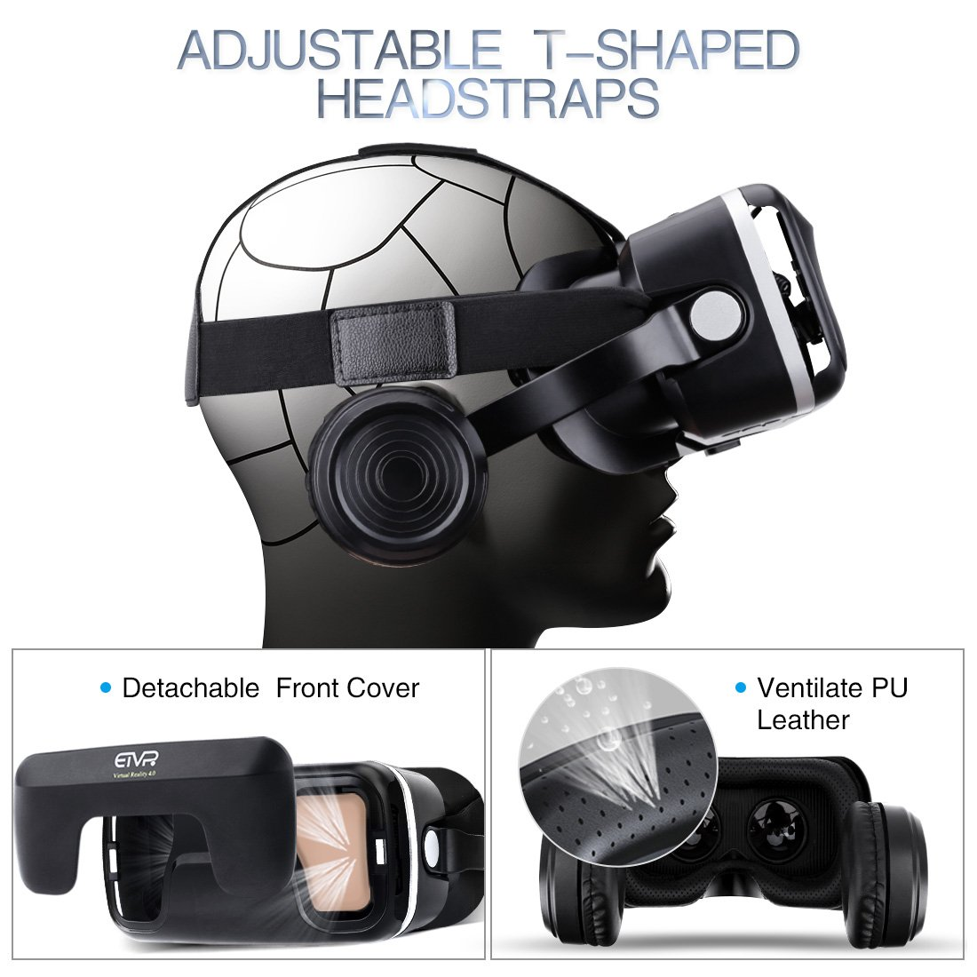 VR Headset with Remote Controller Immersive 3D VR Glasses Virtual Reality Headsetwith Stereo Headphone and Adjustable Headstrap for 3D Movies & VR Games, Fit for 4.7-6.0 inch IOS/Android Smartphone by EXCLEAD (Image #4)