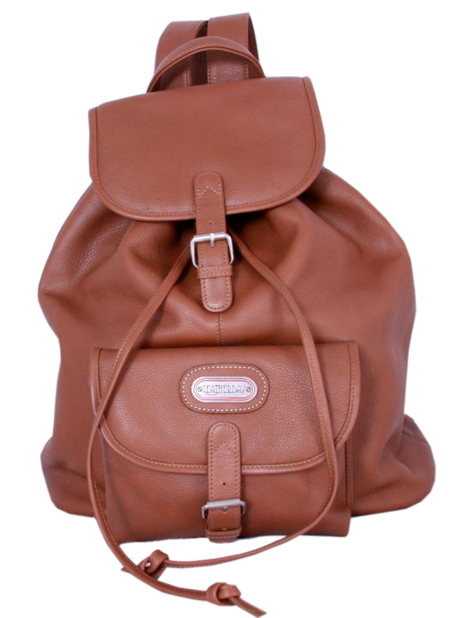 Leatherbay Leather Backpack with Single Pocket,Tan,one size