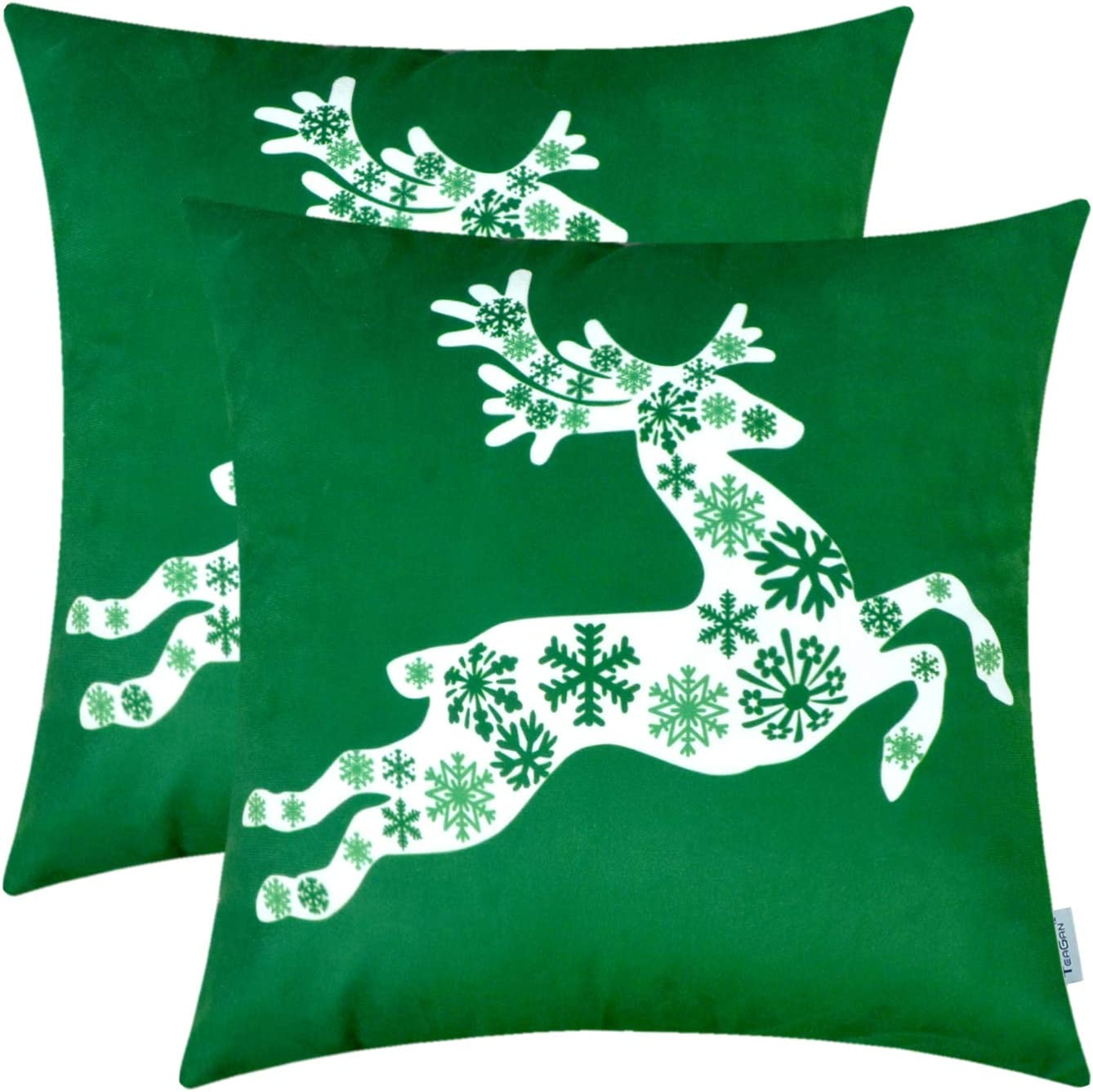 Christmas Cushion Covers, 2PCS Pillow Shells with Christmas Deer Print, 100% Polyester Throw Pillow Covers for Home Decor Bedroom Living Room Garden Couch Bed Sofa Chair, 18X18 Inch, Christmas Green