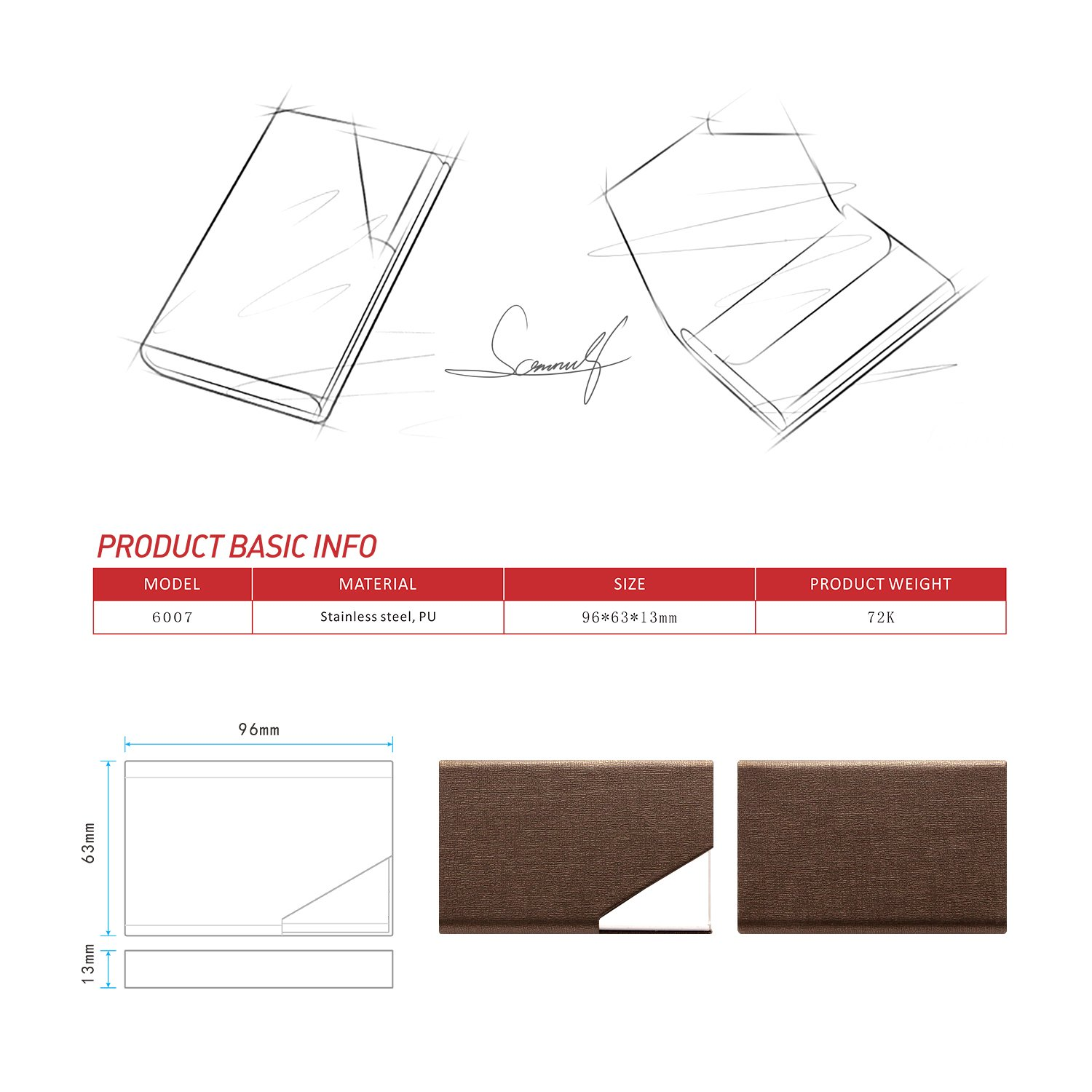 Padike Business Name Card Holder Luxury PU Leather /& Stainless Steel Multi Card Case,Business Name Card Holder Wallet Credit Card ID Case//Holder for Men /& Women Brown