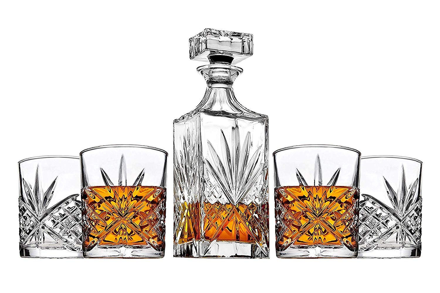 James Scott 5-Piece Decanter Set - Perfect for Liquor, Whiskey, Wine and Bourbon - Crystal Irish Cut Set Includes 1 x 25 oz. Decanter and 4 x 11 oz. Glasses | Packaged in a Beautiful Gift Box