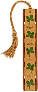 product image for 4 Leaf Clover (Faith, Hope, Love, Luck) Wooden Bookmark with Tassel - Also Available Personalized