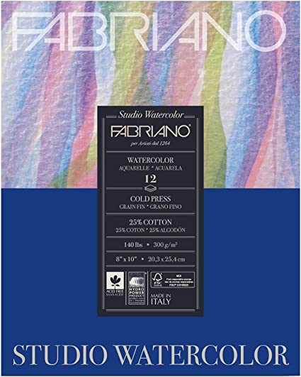 """Cold Press 12-Sheet Pad 8x10/"""" Fabriano Studio Watercolor Paper 140 lb"""