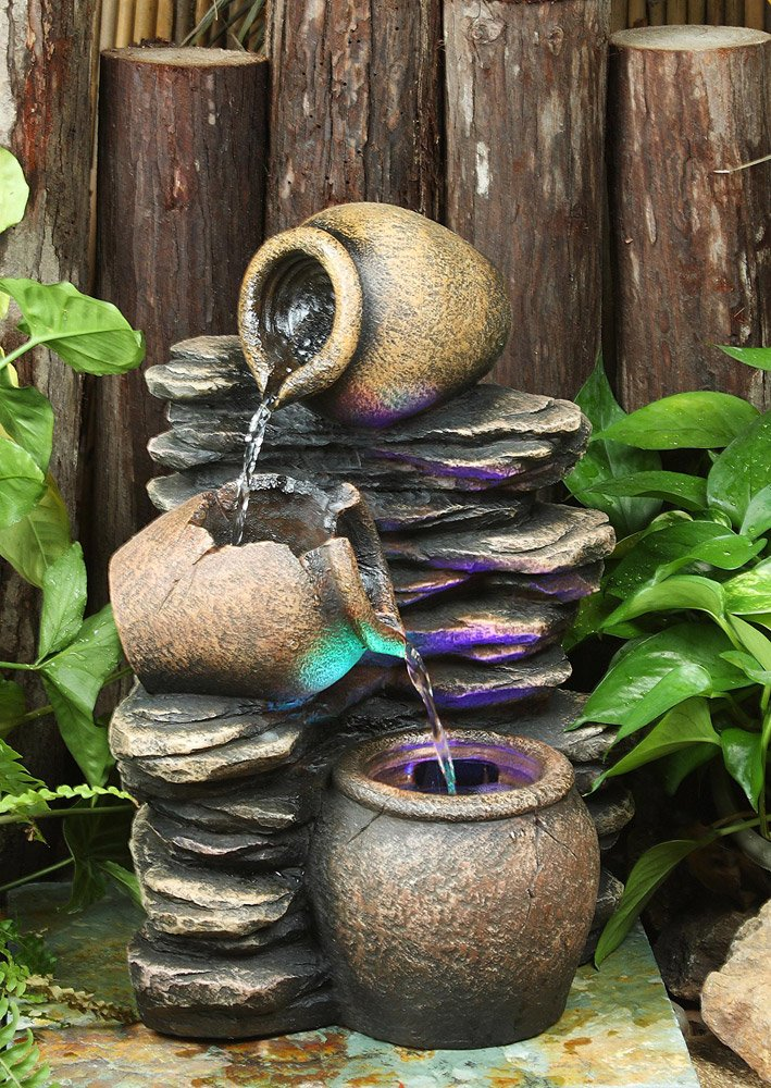 Hi-Line Gift Ltd Pouring Jugs Fountain with Light - Add a decorative touch to any garden or outdoor space Composition: Polyresin Outdoor or Indoor Use - patio, outdoor-decor, fountains - 71D3zWHV9uL -