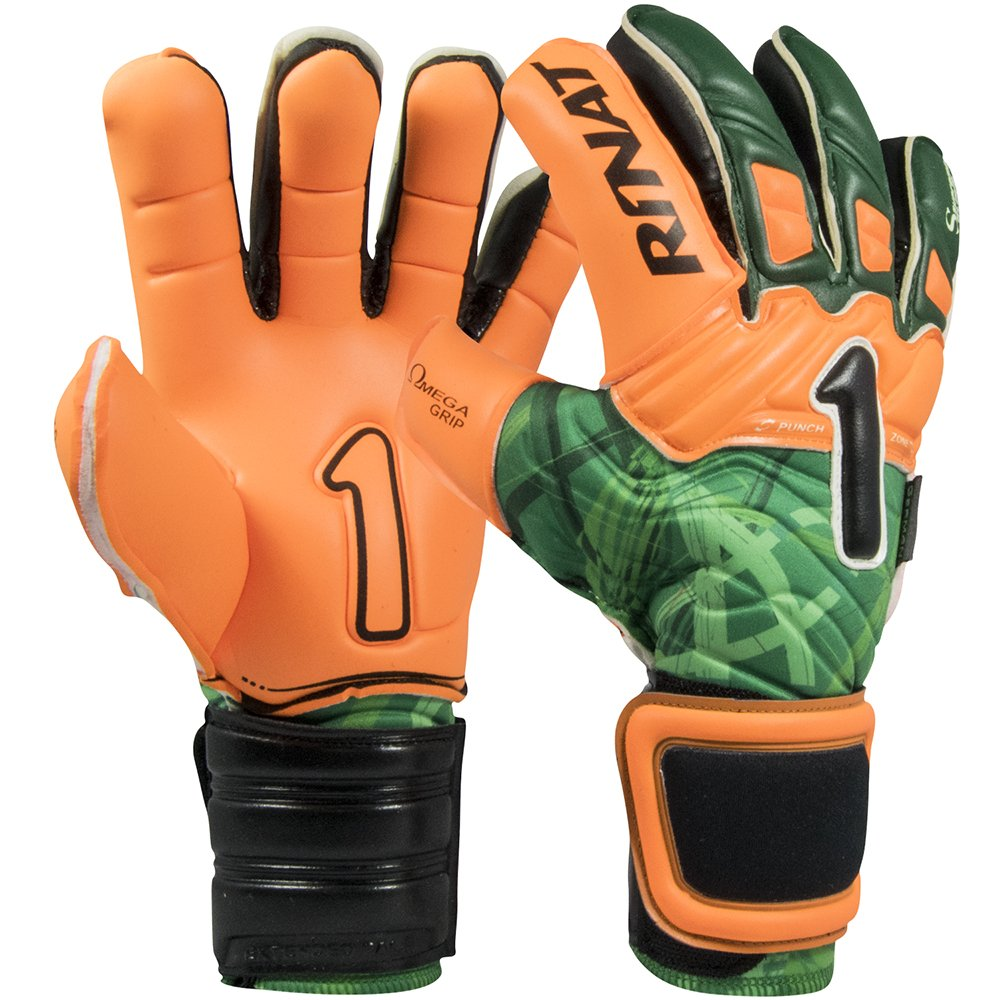 0 Rinat Supreme 2.0 Pro -Torwarthandschuhe Unisex, Farbe Grün Orange fluoreszierend, Größe 9