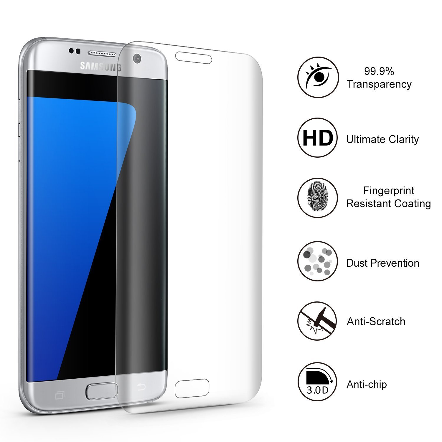 Amazon Galaxy S7 Edge Screen Protector Premium Tempered Glass For No Bubbles Cell Phones & Accessories