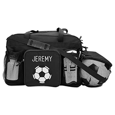 53296b923612 Image Unavailable. Image not available for. Color: Black Soccer Kids  Personalized Medium Duffel Bag ...