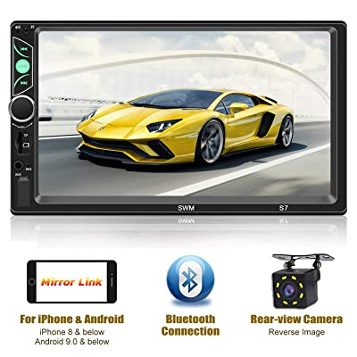 Double Din Car Stereo-7 inch Touch Screen,Compatible with BT TF USB MP5/4/3 Player FM Car Radio,Support Backup Rear View Camera, Mirror Link,Caller ID, Upgrade The Latest Version: Car Electronics