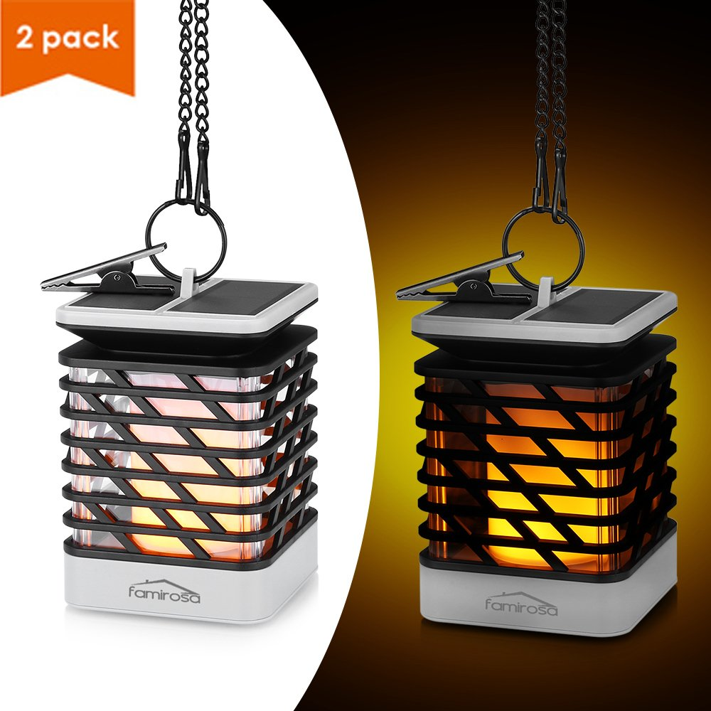Solar Lantern Outdoor Hanging 2 Pack, Famirosa Garden Lights Solar Powered Flame Torch Lanterns for Pathway Garden Deck Waterproof …