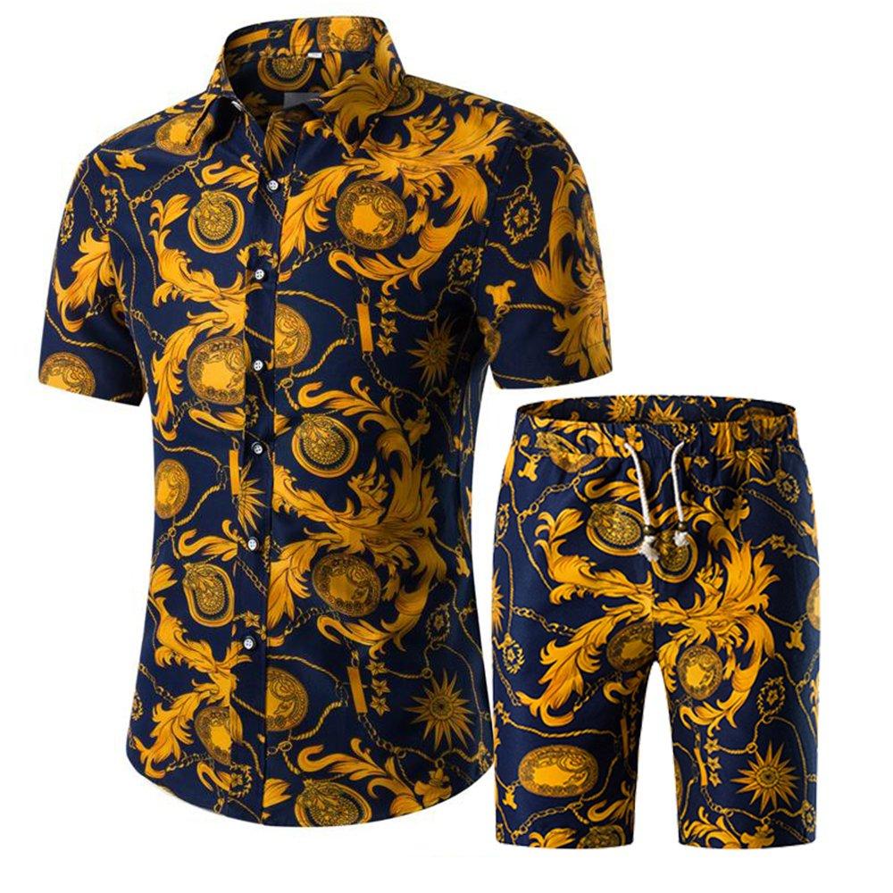 NiuZi Men's Summer Suit Short Sleeve Casual Button Down Shirt & Pants Set with Floral Print Beach Aloha Hawaiian Shirts (C06, XL)