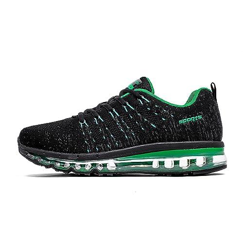 1d29e40651ac Uomo Donna Air Scarpe da Ginnastica Running Sportive Fitness Basse Sneakers  (Nero Verde,44