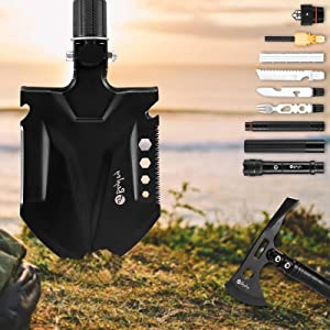 BeyJoy Multi Functional Outdoor Survival Toolbox Set Manganese Steel Folding Engineer Shovel Axe Ice Pick Knife Fork Torch Compass Luminous Ring