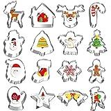 16 Pcs Christmas Cookie Cutters, Besteek Holiday Cookie Cutters Metal Cookie Cutters Including Gingerbread Man Snowflake…