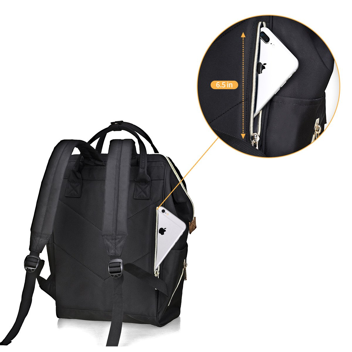 2bbee945e66 Bebamour Casual College Backpack Lightweight Travel Wide Open Back ...