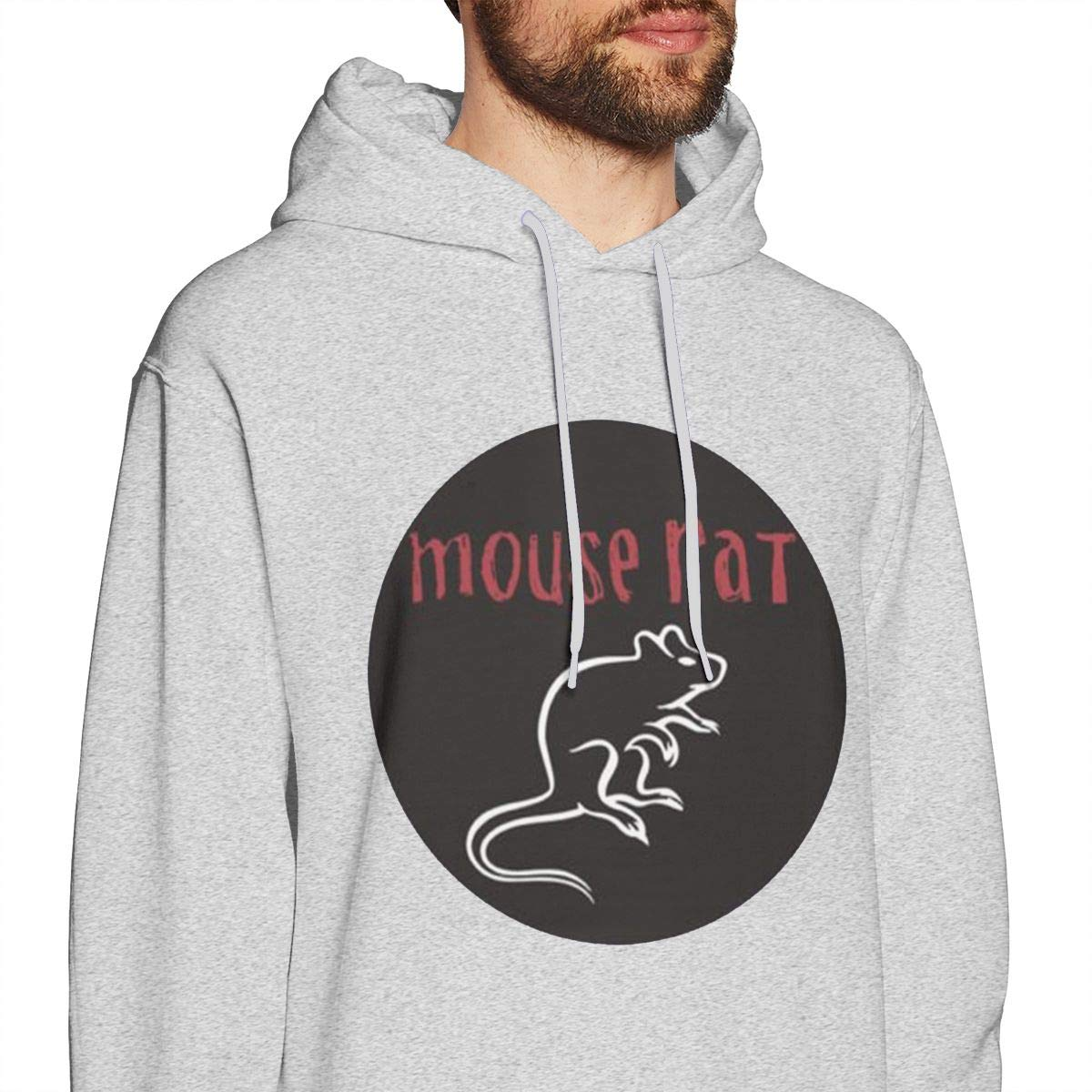 Mens Hooded Sweatshirt Mouse Rat Oversized Classic Print Casual Gray S