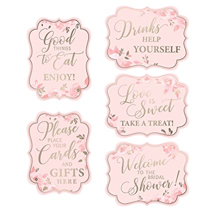 lillian rose set of 5 5 pink gold bridal shower signs