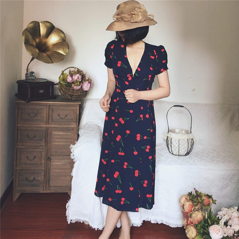 2018 Verano Vintage Floral imprimir Vestidos Mujeres Dulce con cinturón v-Cuello de Manga Corta Beach Dresses Mujeres Vestidos ocasionales, Azul Marino, ...