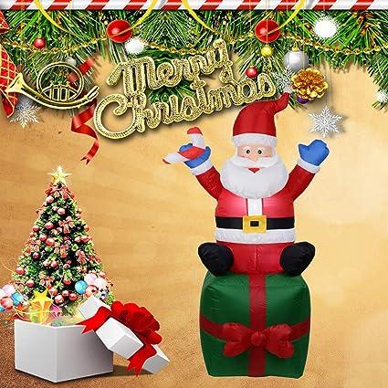 Amazon Com Christmas Inflatable Decorations Santa Gift