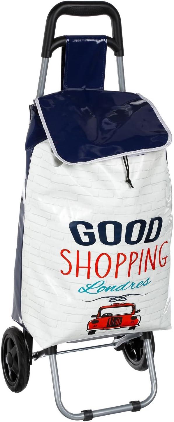 Blanc et Bleu Marine Atmosphera Chariot Shopping City Londres 30 L