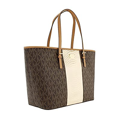 b37acfb41b4849 Amazon.com: MICHAEL Michael Kors Women's Jet Set Travel Center Stripe Large  Carry All Tote (Signature MK Brown/PLGOLD): Shoes
