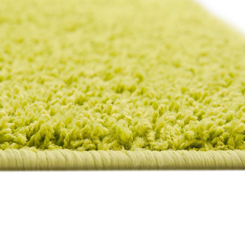 Floori® Shaggy Teppich   Limette Grün - Größe wählbar - GuT-Siegel PRODIS - moderner Wohnzimmerteppich