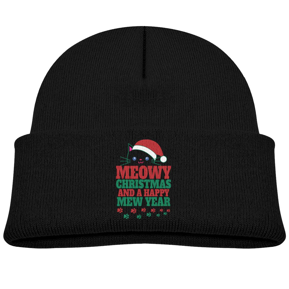Qiop Nee Meowy Christmas and A Happy Mew Year Beanie Caps Knit Hats Winter Baby Boys