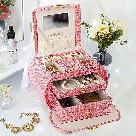 Amazoncom LANGRIA Pink Jewelry Boxes Girls Travel Lockable
