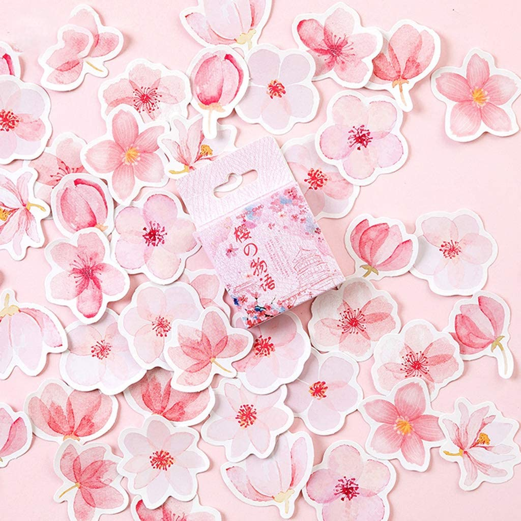 Travel DIY Scrapbooking Diary Albums Decoration KUKALE Sticker 45pcs//Box Cherry Blossoms Stationery Sealing Label