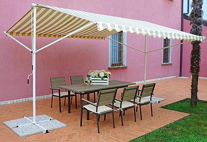 vorghini Carpa de jardín de Hierro 4 x 4 m Marquise Amarillo y marrón: Amazon.es: Jardín
