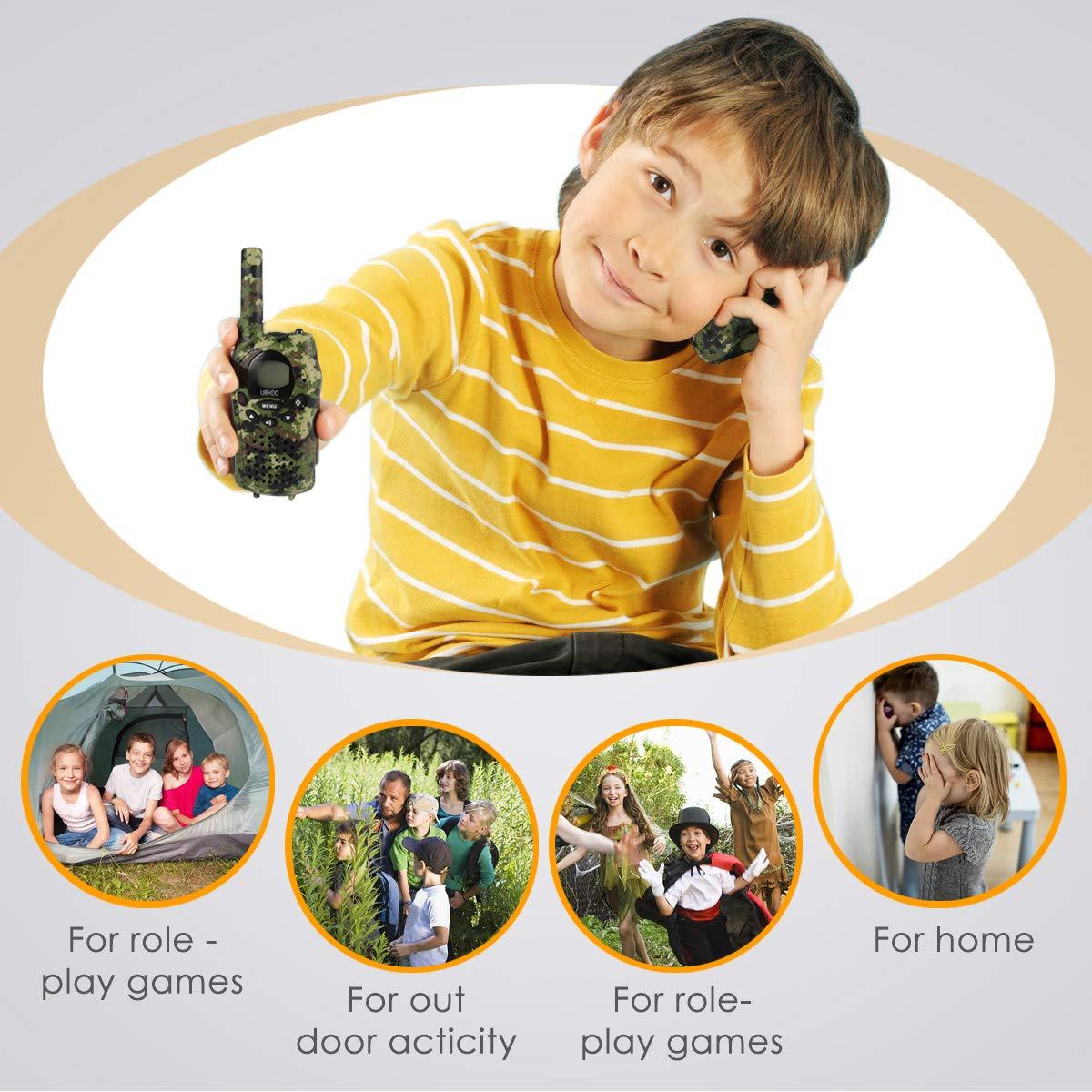 Kids Walkie Talkies, UOKOO Walkie Talkies for Kids 22 Channel FRS/GMRS Two Way Radio Up to 3KM UHF Handheld Walkie Talkies, Toys for 5-year old Boys, Gifts for 7-year Old Boys and Girls by UOKOO (Image #6)
