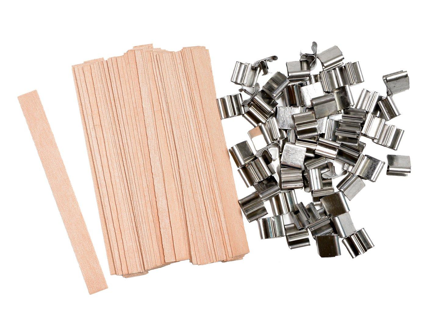 NOVSIX 60 pezzi 5 stoppini in legno per candele e candele fai-da-te (13 x 130mm)