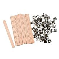 """NOVSIX 60 Piece 5 """"Mèches en bois de bougie pour la fabrication de bougie et bougie DIY (13 x 130mm)"""
