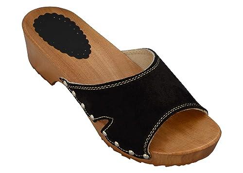 BeComfy Damen Clogs aus Leder Holzschuhe Pantoletten mit Absatz Elegant Sandalen Wildleder Schwarz Beige Orange Garten Schuhe 35,36,37,38,39,40,41
