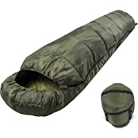 Andes Nevado 300 Mummy Sleeping Bag Warm 300GSM Filling - Compression Carry Bag Included - Ideal For Camping, Hiking, Backpacking, DoE Awards, Festivals Waterproof