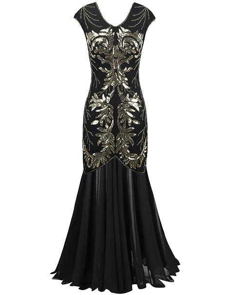 PrettyGuide Mujeres 1920s Vestido Largo Negro Lentejuela Flapper Formal Vestidos De Fiesta XL Oro