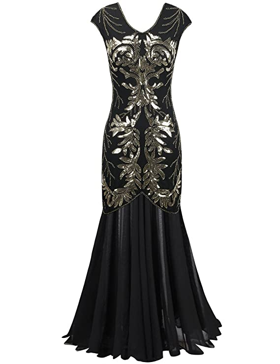 Amazon.com: PrettyGuide Women Evening Dress 1920s Ball Gown Black ...