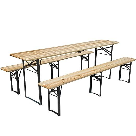 Juego de mesa y bancos de jardín, plegable, conjunto de 3 piezas ...