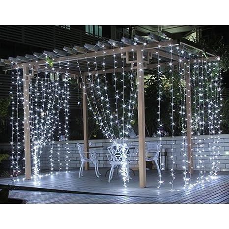 LE 3x3m 306 LED Cortina de Luces LED Blanco Frío, Resistente al Agua, Cadena de Luces 8 Modos de Luz, Decoración de Navidad, Fiestas, Bodas, Jardín ...
