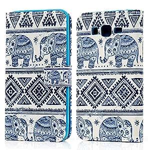 BestCool Funda Cuero PU para Samsung Galaxy Grand Prime (SM-G530H) Carcasa Case Flip Tipo Libro con Ranura de Tarjeta - Patrón Elefante Tribal Azul Oscuro Diseño (Blanca)