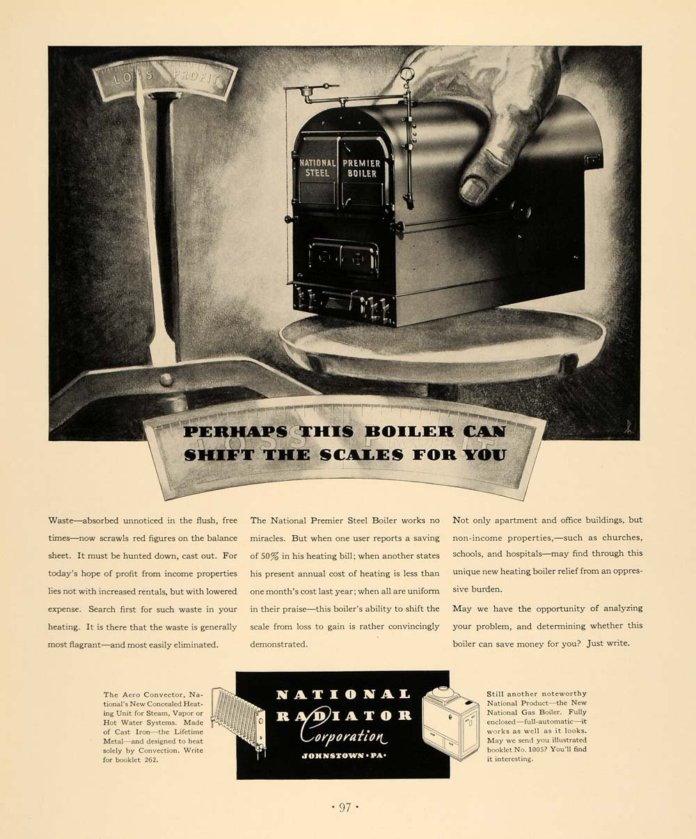 Amazon.com: 1933 Ad National Radiator Premier Steel Boiler Scale - Original Print Ad: Entertainment Collectibles