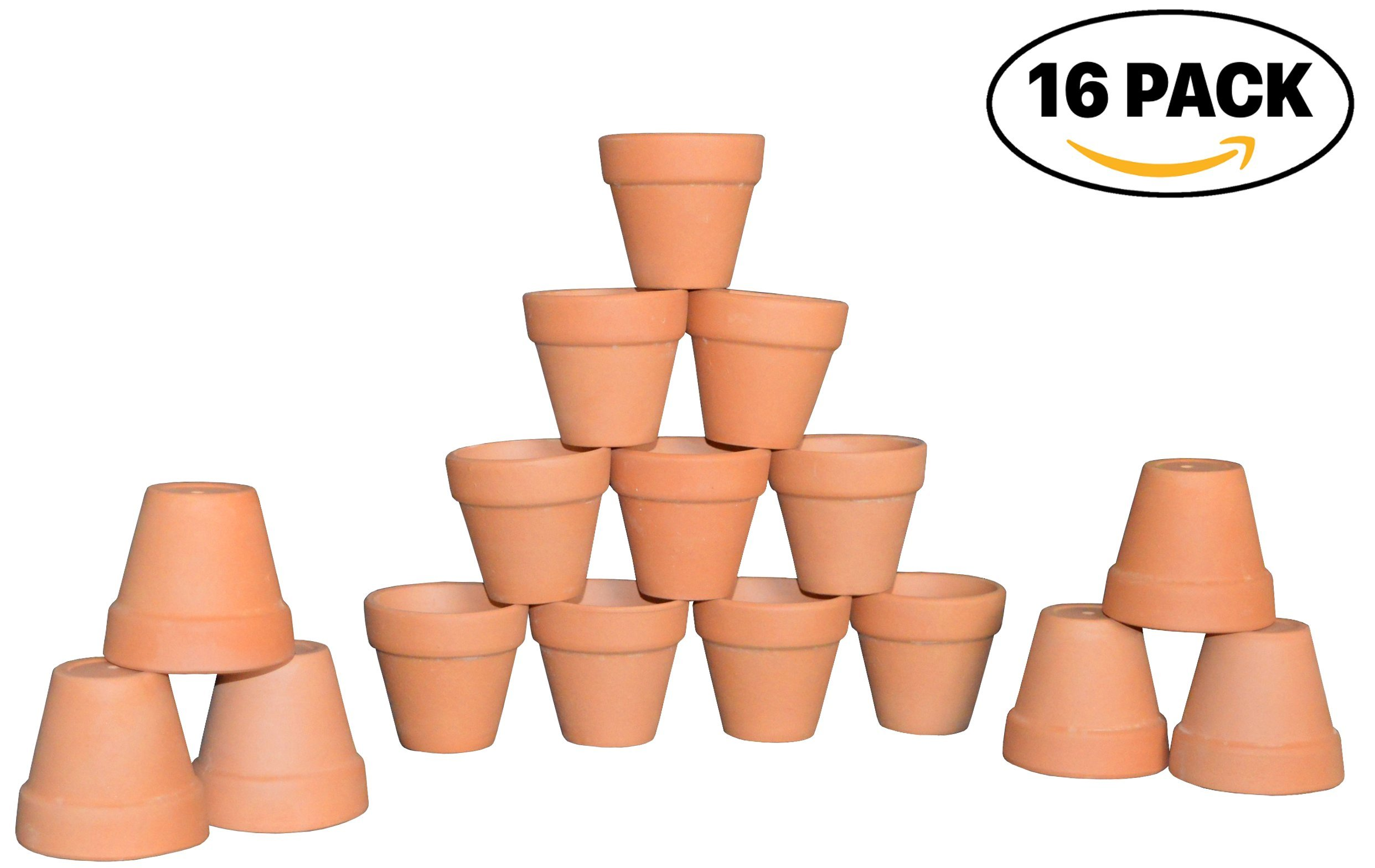 My Urban Crafts 2'' Small Mini Terracotta Clay Pots - Great For Succulent & Cactus Nursery Planter, DIY Craft Projects, Wedding and Party Favors (Set of 16) by My Urban Crafts