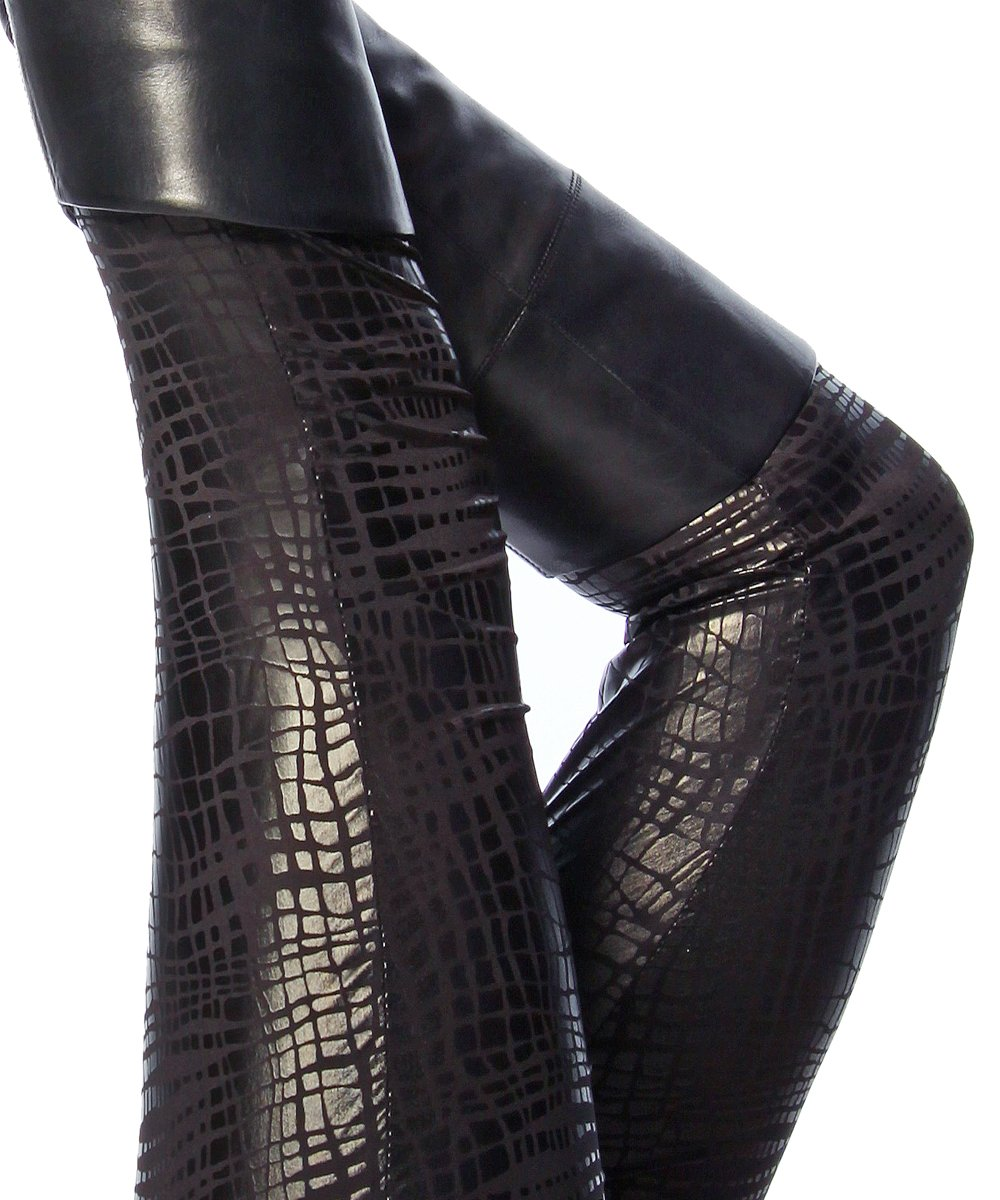 11717?Crocodile-Skin Look Scjwarz Shiny Leggings Sizes S/M/L